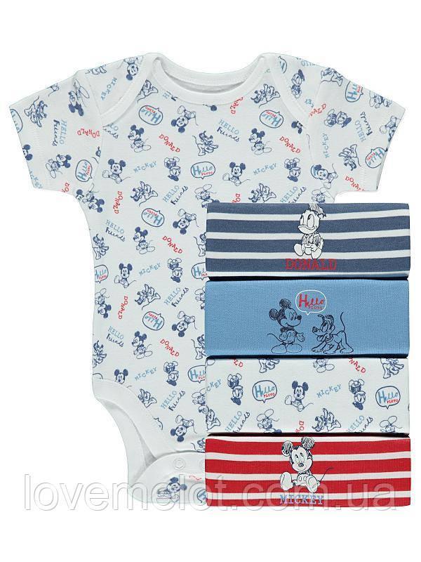 """Бодики для новорожденных George """"Микки и Дональд"""", размер 62 см, набор 5 шт"""
