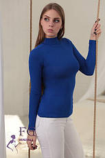 Женский однотонный гольф-водолазка с горлом тонкий цвет голубой, фото 3