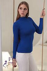 Жіночий однотонний гольф-водолазка тонкий демісезонний блакитний, фото 3