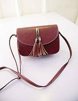 Жіноча маленька бордова сумочка з пензликами