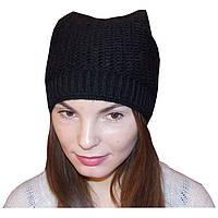 Женская вязаная спицами зимняя шапка - кошка (утепленный вариант), объемной ручной вязки.