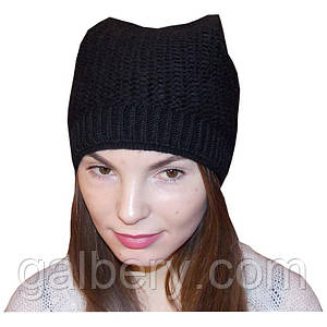 Зимняя шапка кошка ручной работы