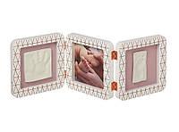 Baby Art. Рамочка Тройная с отпечатком ручки ножки малыша Медно-белая (3601092800)