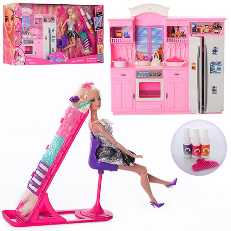 Мебель 66871кухня, кукла 29 см, шарнир, дочка 10 см, трафарет, краска для волос