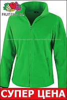 Женская флисовая классическая кофта на замке Ярко-зелёная Result  R220F 47 XL