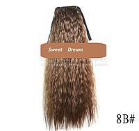 Шиньон, конский хвост, кудрявый, афро-кудряшки, длина - 60 см, цвет №8В