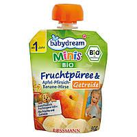 Babydream Minis Фруктовое пюре: яблоко-персик-банан-просо и зерновые 90 г, от 1 года
