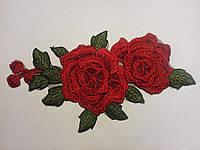 Аппликация для одежды роза 3D красная