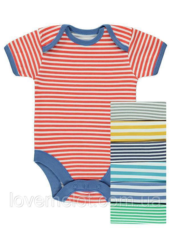 """Бодики для новорожденных George """"Яркая полоска"""", размер 62 см, набор 7 шт"""