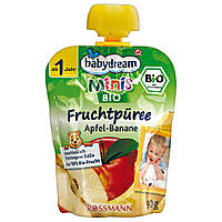 Babydream Minis Фруктовое пюре: яблоко-банан 90 г, от 1 года