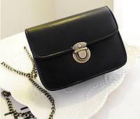 Женская маленькая черная сумочка на цепочке , фото 1