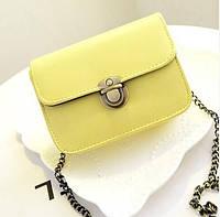 Женская маленькая желтая сумочка на цепочке из экокожи опт, фото 1
