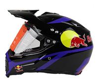 Черный эндуро кроссовый мото шлем Red Bull Dot