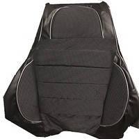 """Чехлы сидений """"Пилот"""" Ланос/ Daewoo Lanos Кожзаменитель черная  +  ткань темно-серая, фото 1"""