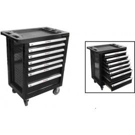 Тележка инструментальная 7-и полочная(черная) с пластиковой защитой корпуса+2боковые перфорации,460х770х980(по