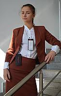 Костюм коричневый (пиджак и юбка), фото 1
