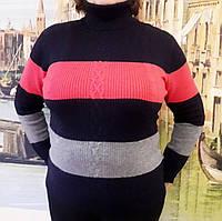 Женская кофта в полоску (цвет черный) Турция, Женский свитер большого размера, фото 1