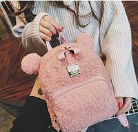 Рюкзак с ушками розовый медведь 207-21
