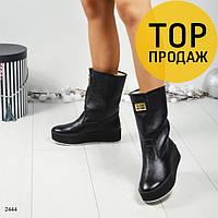 Женские зимние сапоги на низком ходу, черного цвета / сапоги женские кожаные, теплые, удобные, модные