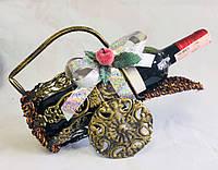 Бутыльник с новогодним декором, ротанг, металл, Плетеные декоры, Днепропетровск