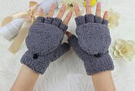 Молодежные перчатки с открытыми пальчиками серый
