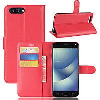 Чехол Asus Zenfone 4 Max / Pro / Plus / ZC554KL книжка PU-Кожа красный