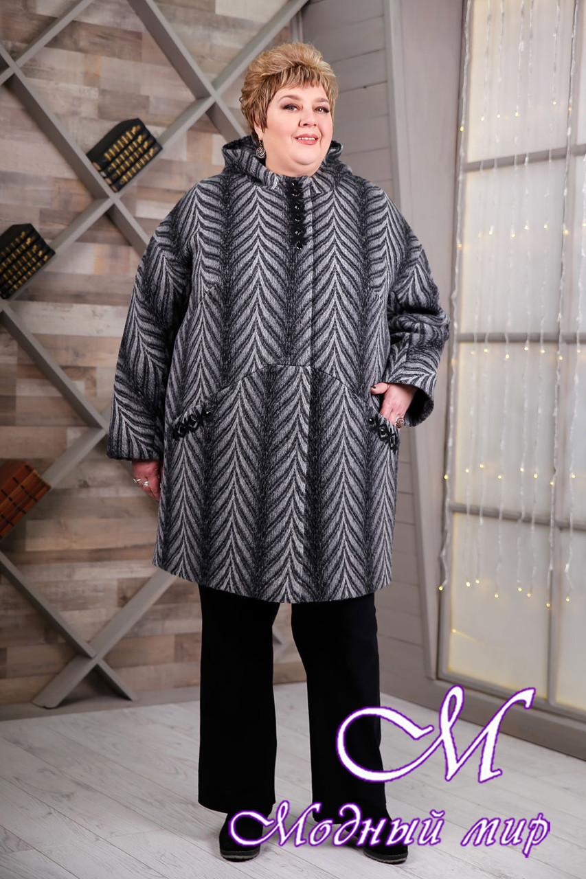 Женское серое демисезонное пальто больших размеров (р. 64-78) арт. 1087 Тон 105