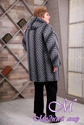 Женское серое демисезонное пальто больших размеров (р. 64-78) арт. 1087 Тон 105, фото 2