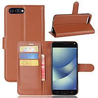 Чехол Asus Zenfone 4 Max / Pro / Plus / ZC554KL книжка PU-Кожа коричневый