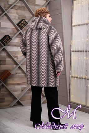 Женское серое весеннее пальто больших размеров (р. 64-78) арт. 1087 Тон 111, фото 2