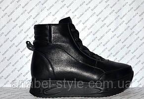 Ботиночки осень-весна женские из натуральной кожи черные на шнуровке и молнии Код 1244, фото 2