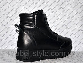 Ботиночки осень-весна женские из натуральной кожи черные на шнуровке и молнии Код 1244, фото 3