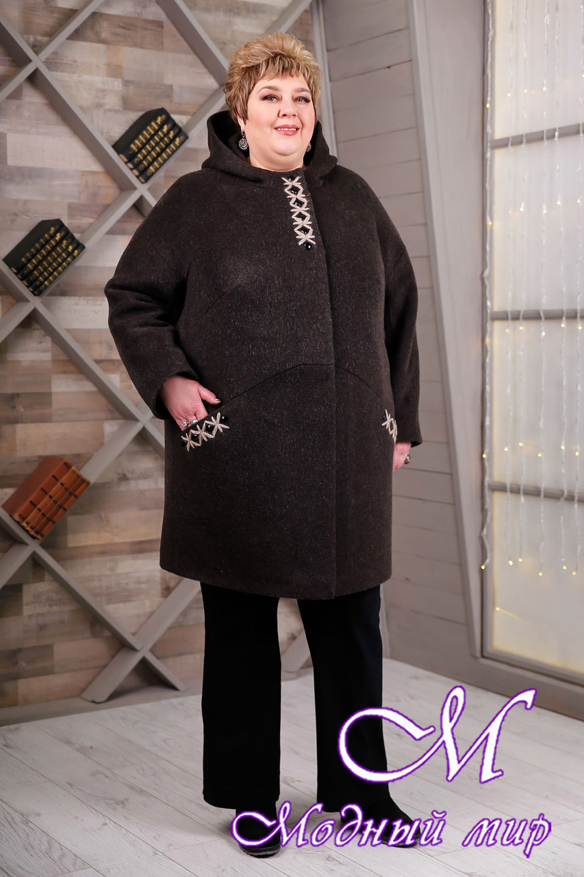 Теплое женское демисезонное пальто больших размеров (р. 64-78) арт. 1087 Тон 16
