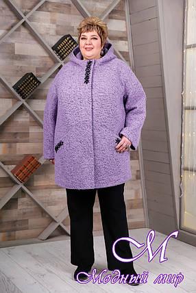 Женское сиреневое демисезонное пальто больших размеров (р. 64-78) арт. 1087 Тон 21, фото 2