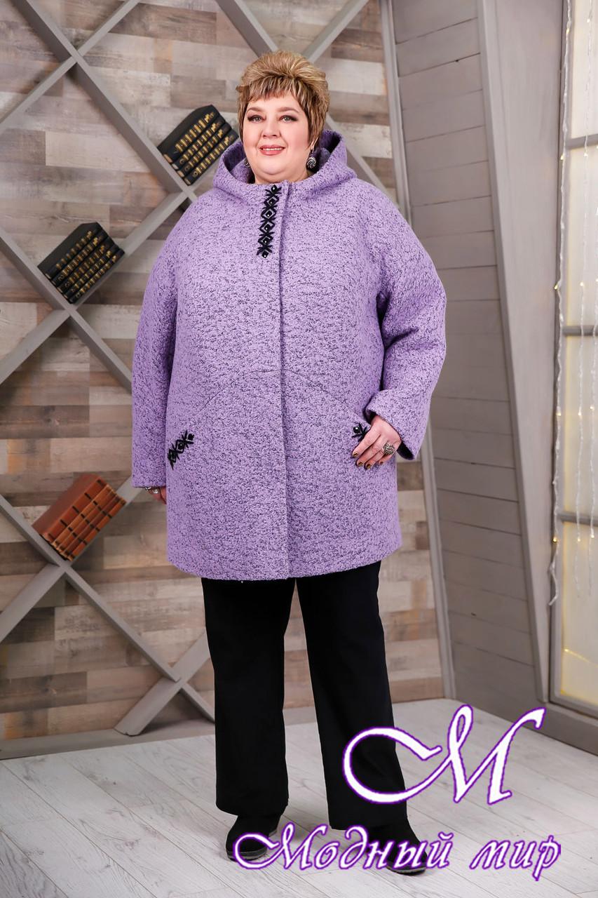 Женское сиреневое демисезонное пальто больших размеров (р. 64-78) арт. 1087 Тон 21