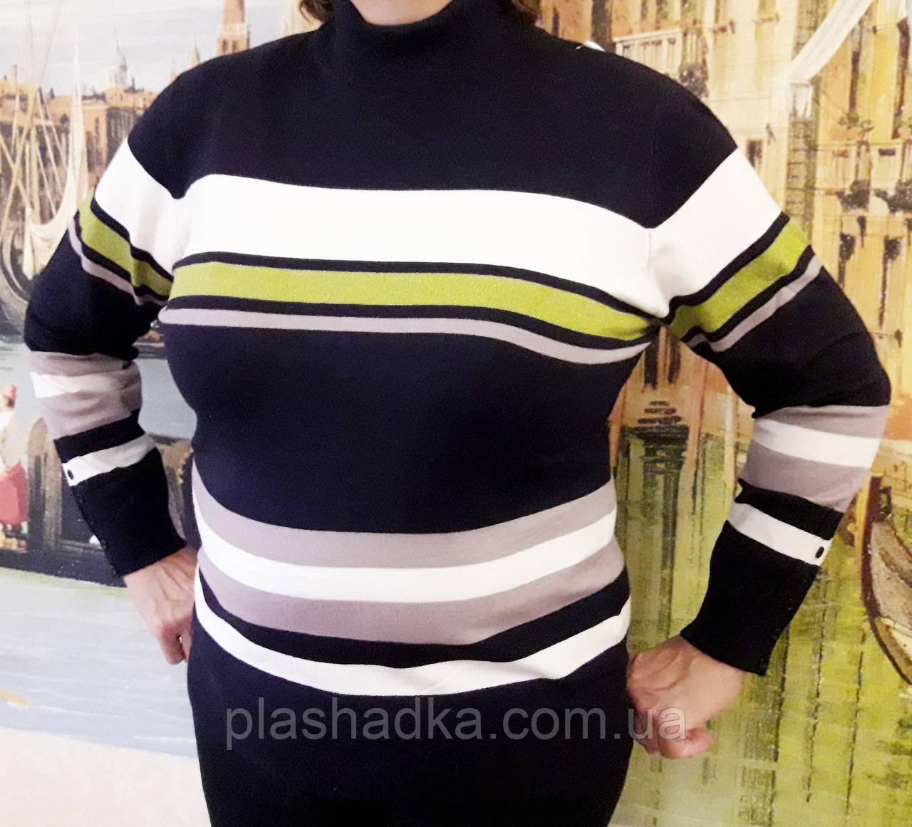 Женская кофта с люрексом (цвет черный) Турция, Женский свитер большого размера