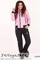 Теплый женский костюм Philipp Plein черный с розовым
