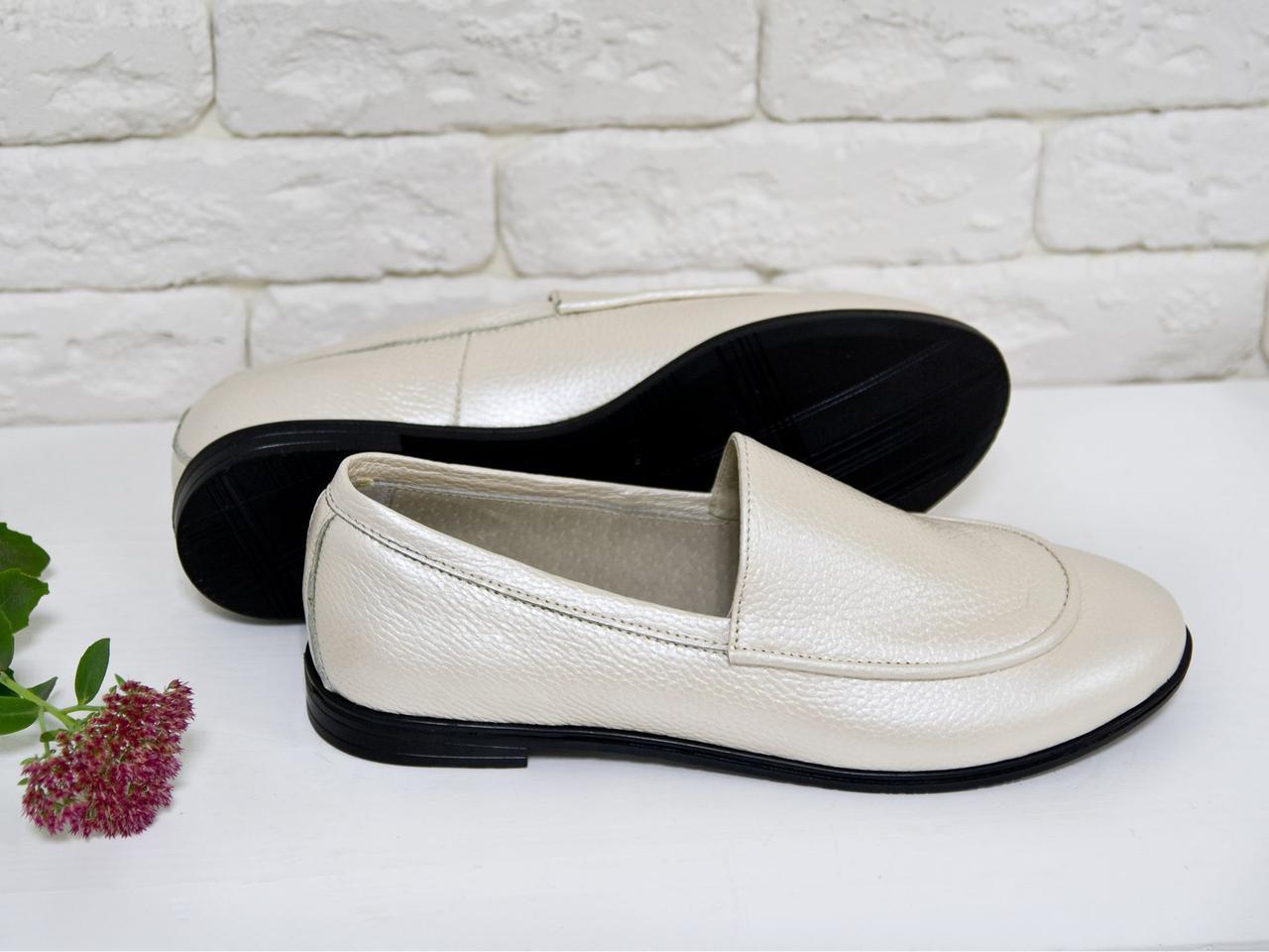 Туфлі жіночі на тонкій підошві з натуральної шкіри ніжно-рожевого кольору з перламутром. Туфлі Т-17060