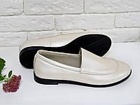 Туфли женские на тонкой подошве из натуральной кожи  нежно-розового цвета с перламутром. Туфли Т-17060