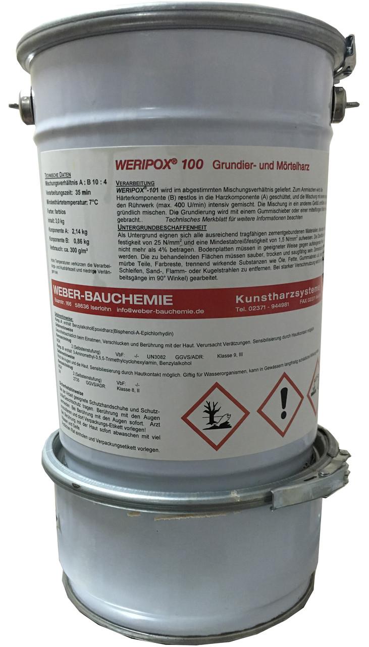 Епоксидна 2-компонентна прозора смола Weripox® 100, пак. 25 кг / Эпоксидный наливной пол. Эпоксидный грунт