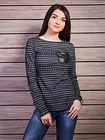 Женская кофта с кожаными налокотниками p.44-46 VM1817-2