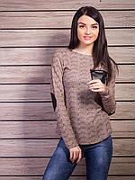 Женская кофта с кожаными налокотниками p.44-46 VM1817-3
