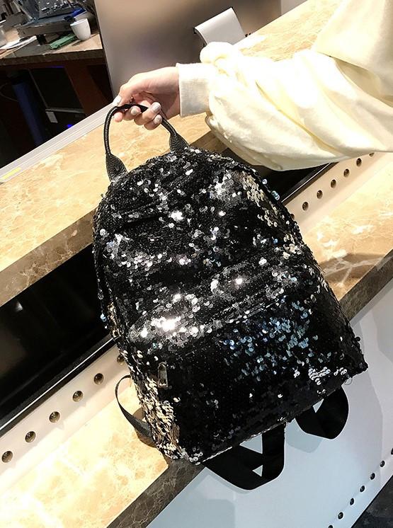 Рюкзак большой двусторонние пайетки чёрный 207-252