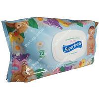 Детские влажные салфетки Baby SuperFresh с клапаном, 72 шт.