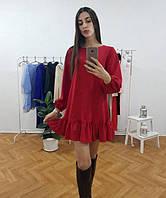 Стильное короткое платье свободного кроя с длинным рукавом