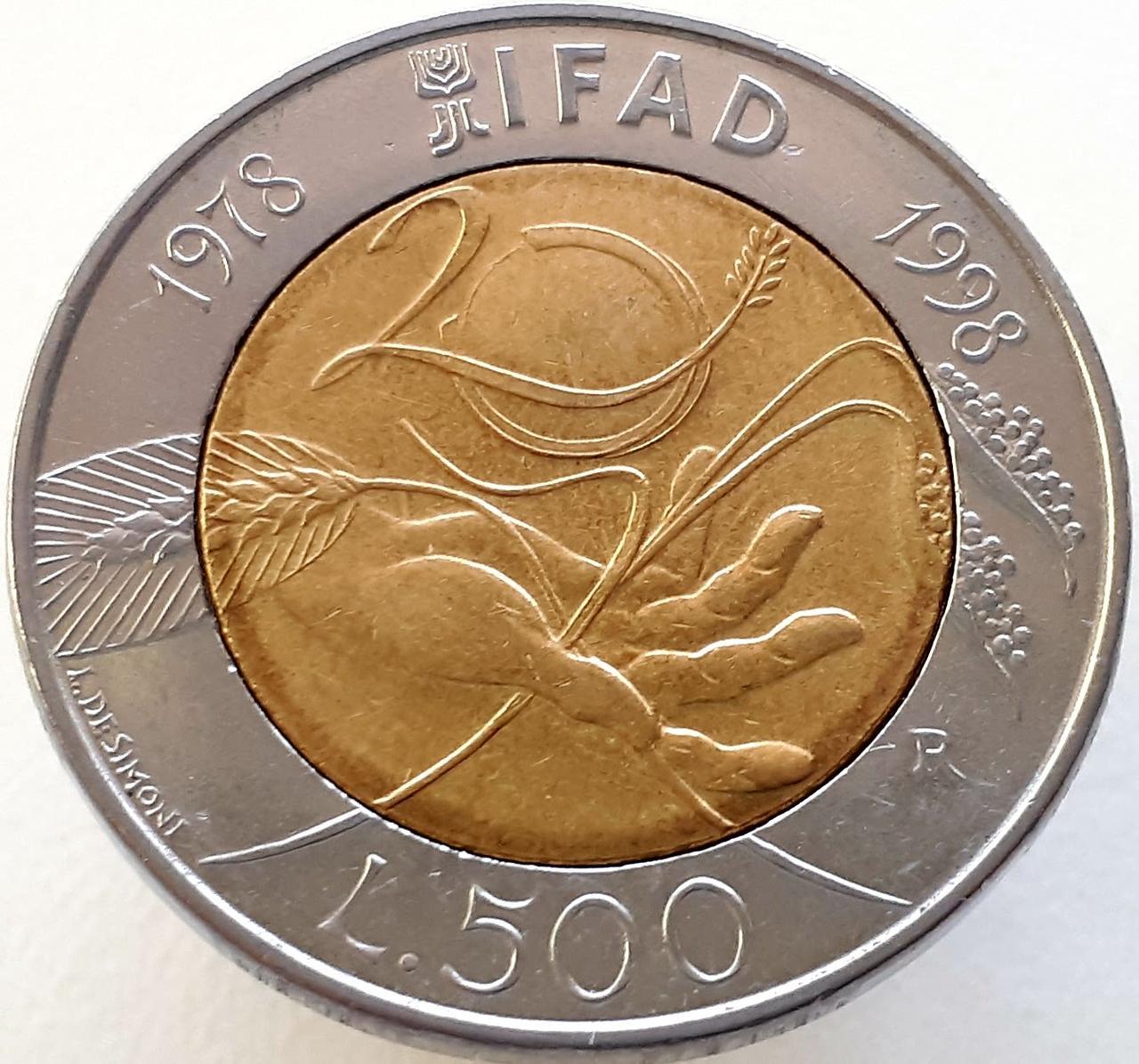 Италия 500 лир 1998 - 20 лет Всемирной продовольственной программе