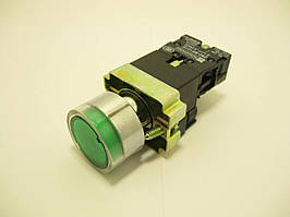 Кнопка XB2-BW3361, с подсветкой, металлическое основание, зеленая