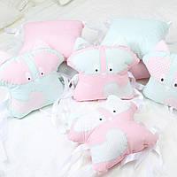 """Набор постельного белья """"Олени и мишки"""" дизайнерский 6-в-1, синий подушка енотик"""