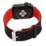Двухсторонний ремешок с перфорацией Primo для Apple Watch 42mm / 44mm - Black&Red, фото 2