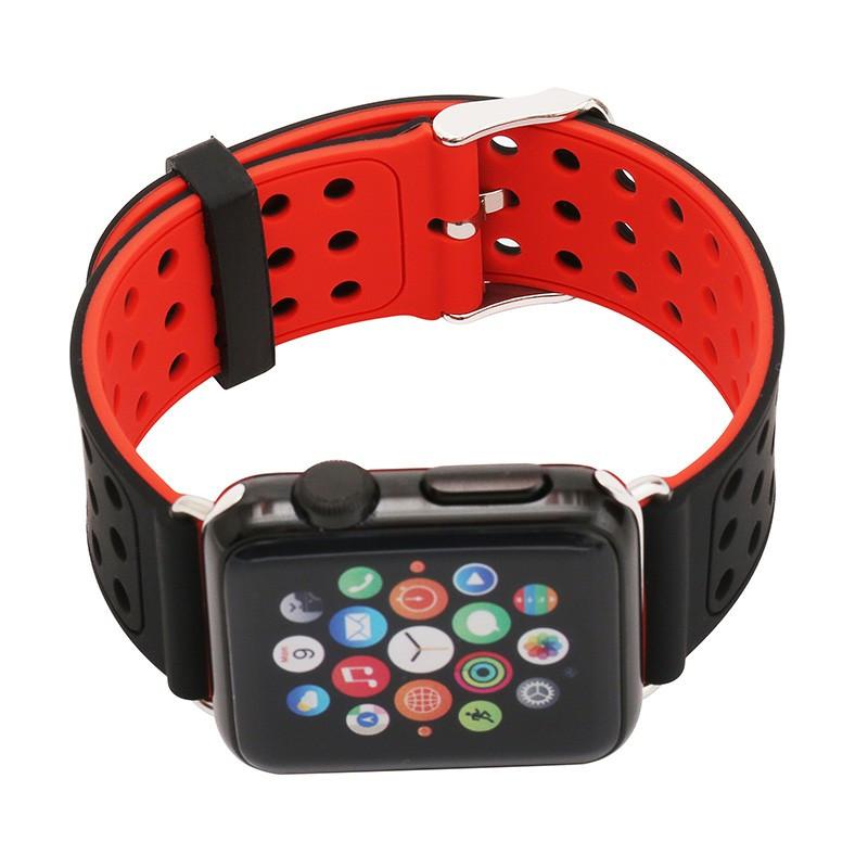 Двухсторонний ремешок с перфорацией Primo для Apple Watch 42mm / 44mm - Black&Red